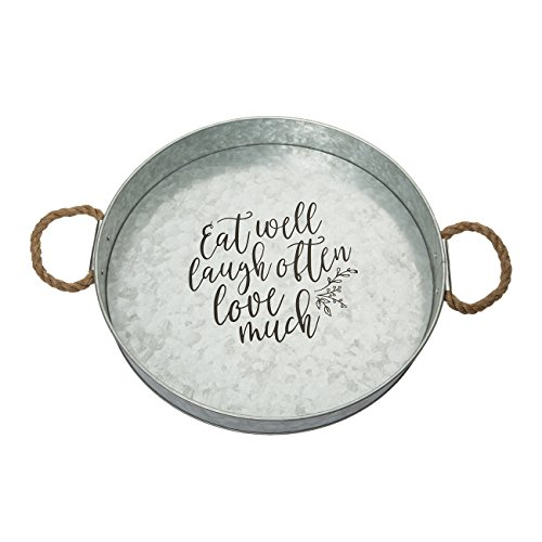 Brownlow Gifts Galvanized Metal Round Serving Tray, Eat Well Laugh Often Love - Gift Tin Round