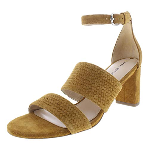 (Via Spiga Womens Wendolin1 Suede Textured Heels Brown 9 Medium (B,M))