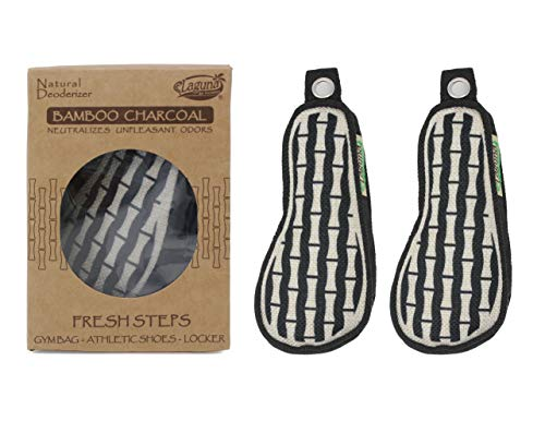 Laguna Fresh Steps Bamboo Charcoal Air Freshener w/Grape Seed Extract, 100% Natural & Chemical Free, Odor Absorber, Odor Neutralizer. for Home, Shoes, Car (Pair)