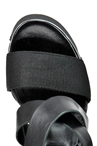 oXs Damen MCGLCAT03199E Schwarz Leder Keilabsatz