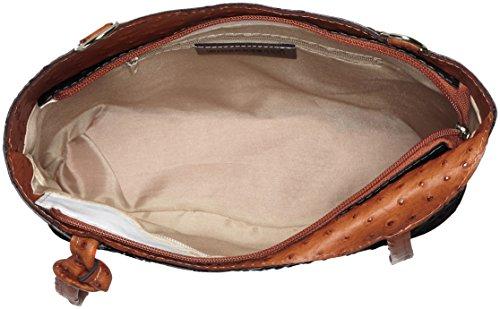 CTM Morral de mujer de piel de avestruz. Piel Verdadera. 100 % Fabricado en Italia Multicolor (Nero Con Manico Cuoio)
