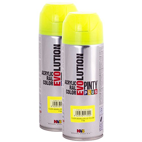 Fast Dry - Fluorescent Acrylic Spray Paint PintyPlus Evolution - Pack of 2 (Yellow) ()
