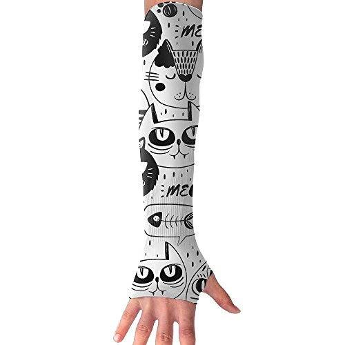 Cat Faces Meow Fish Cooling Arm Sleeves Unisex Sun Block UV Protection International Fashion