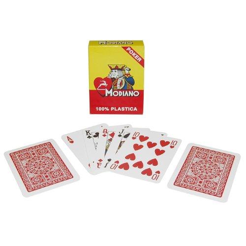 Reg Single (Trademark Poker Modiano 100% Plastic Poker Size Reg Index Single Deck Playing Cards (Red))
