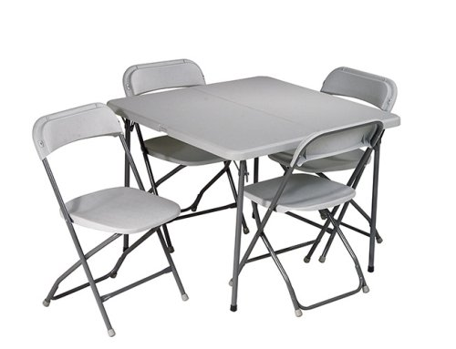 Work Smart Resin 5-Piece Folding Chair and Table Set, 4 Chairs and 3-Feet Square Table (White Resin Table compare prices)