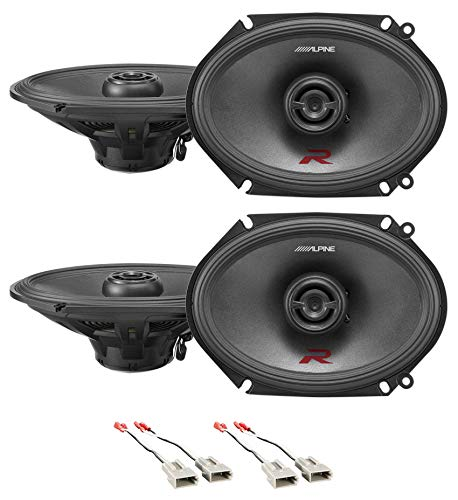 Front+Rear Alpine R 6x8 Speaker Replacement Kit for 1993-1995 Lincoln Mark VIII ()