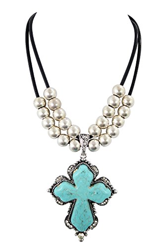 Western Cowgirl Chunky Turquoise Cross Pendant Necklace for (Western Cross Pendants)