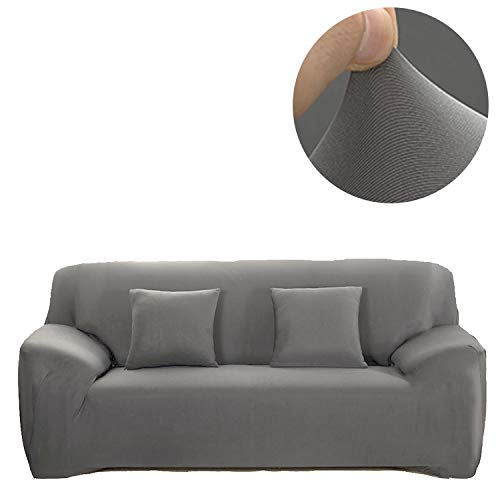 ANJUREN 1 Piece Sofa Couch Loveseat Chair Slipcover Cover Polyester Spandex Living Room Sofas Furniture Stretch Slip Covers Shield Protector (4 Seater Sofa, Gray)