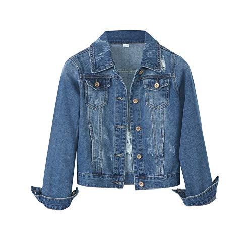 YUKE Girl's Denim Jacket Kid Embroidered Hole Denim Jacket Female Denim Clothing Coat 9-15 Age (Light Blue, 11-12 Years/Reference Height 24/152)