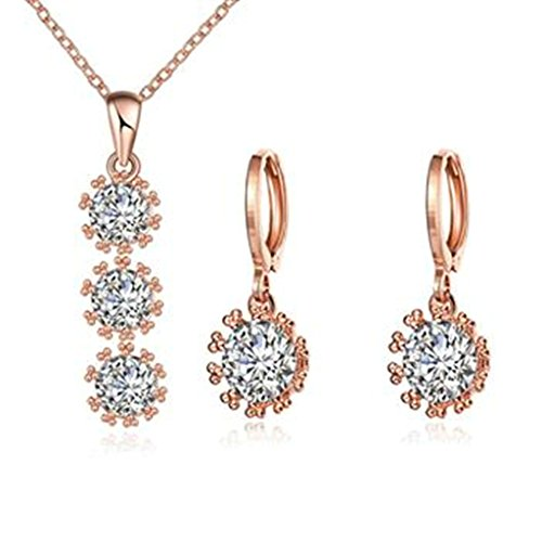 AMDXD Jewelry Silver Plated Women Jewelry Sets Rose Gold CZ Necklace Earrings