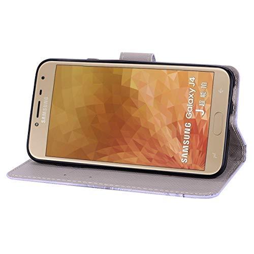 COZY chocs Stand 3D PU Flip J4 Créatif Hybride en Effet Cuir Galaxy Magnétique Construit Cuir Faux Souple Désign Coque Housse Samsung HUT Mode Prime Modèle 2018 en Portefeuille Folio Pare Caoutchouc YHaPf1q