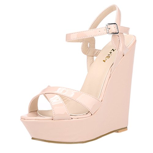 ZriEy Women's Fashion Ankle Strap High Heel Wedge Sandals Patent Leather Nude size 10