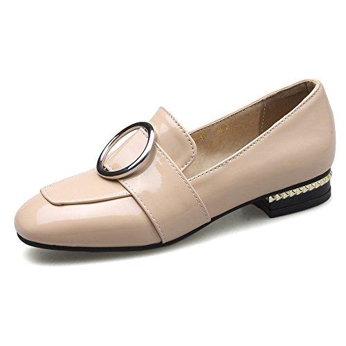 Carrée Femmes Talons Bas Tête Simple Épais Beige Vintage Grande À Chaussures occasionnels Avec 43 Taille qtCwdgt
