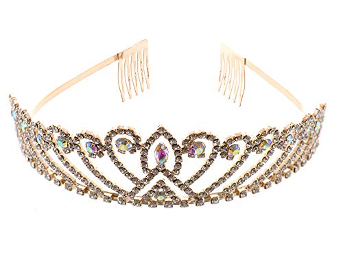 Topwholesalejewel Fashion Jewelry Gold Plating Aurora Borealis Rhinestone Wedding Tiara]()