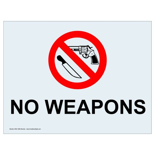 ComplianceSigns Clear Vinyl Weapons Restricted Window Cling, 5 x 3.5 in. with Front Cling, (Vinyl Cling Signs)