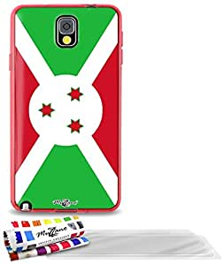 """Carcasa Flexible Ultra-Slim SAMSUNG N9000 de exclusivo motivo [Burundi Bandera] [Roja] de MUZZANO  + 3 Pelliculas de Pantalla """"UltraClear"""" + ESTILETE y PAÑO MUZZANO REGALADOS - La Protección Antigolpes ULTIMA, ELEGANTE Y DURADERA para su SAMSUNG N9000"""