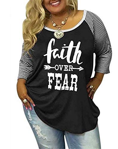 (Women's Plus Size Faith Over Fear Funny Christian Shirt Long Sleeve Striped Patchwork Tops Tees Size XL (Black))
