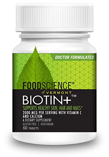 FoodScience of Vermont Biotin+, Hair-Skin-Nail Dietary Supplement, 60 Tablets