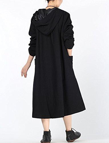 Vogstyle Comodo Capa Chaqueta de Las Mujeres de Varios Colores negro