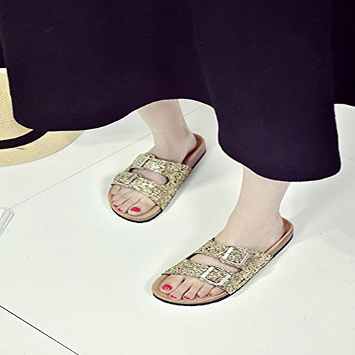 T Sandals Ladies golden JULY Glitter Anti Sparkle Slippers Sequins Summer Slip Womens Skid Slides On Lightweight rarZgU8nW