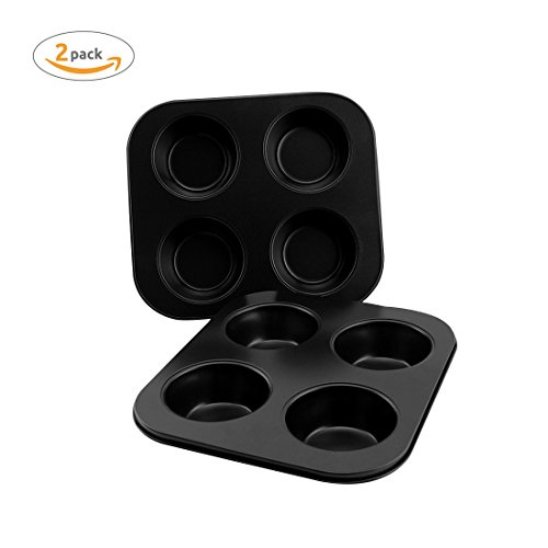 AOGVNA 4-Cup Heavy Carbon Steel Non-Stick Bakeware Cupcake Muffin Pan Baking Tray 2 Pack 8.5 Inch (Carbon Steel Non Stick Muffin Pan)