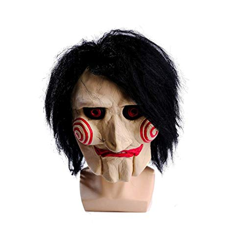 wellin Party Halloween Saw Billy The Puppet Mask, Latex Masquerade Prop Christmas White -