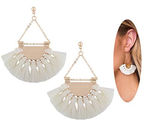 (Youniker Womens Tassels Earrings Girls Bohemian Tassel Drop Vintage Retro Tassel Dangle Boho Drop Earrings Eardrop Stud for Women (White))