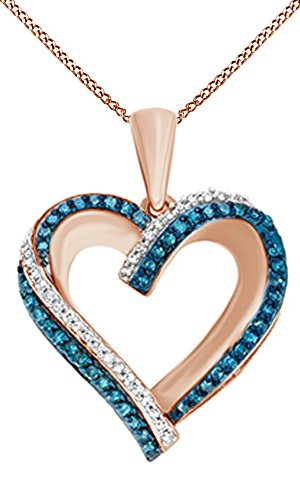 Jewel Zone US White & Blue Natural Diamond Heart Pendant Necklace in 14k Rose Gold Over Sterling Silver (0.25 (0.25 Ct Diamond Necklace)