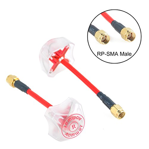 Crazepony 2pcs Newest Aomway 5.8G 3DBi 4 Leaf Clover Antenna RP-SMA Male with Protective Coverings for FPV Multicopter TX/RX