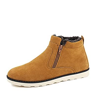 Gracosy Snow Boots For Men and Women, Korean Style Warm Casual Shoes Winter Snow Boots With Zipper, Fur Lined Yellow-38