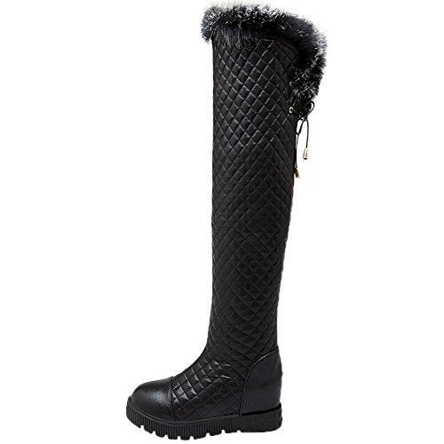 Knee Winter HooH Warm Over High Boots Rhombus Black Knee Fur the Women Rabbit Boots Platform I4YPYx