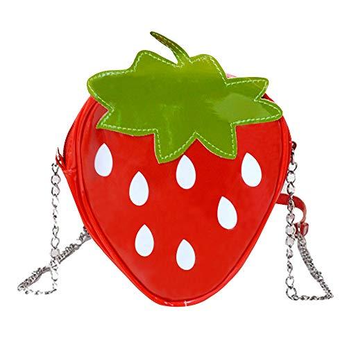 Sherry Strawberry Purse Women Fruit Shaped Leather Shoulder Bag Cute Mini Cross Body Handbag (Leather Strawberry)