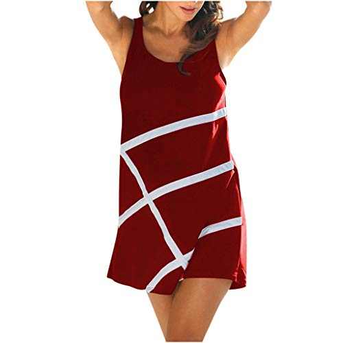 Sunhusing Women's Summer Round Neck Sleeveless Cross Line Print Casual Tunic Dress Beach Mini A-Line Dress Wine
