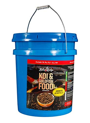 Blue Ridge Fish Food Pellets [14lb] Koi and Goldfish Growth Formula Blend, Mini and Large Floating Pellet, Balanced Diet