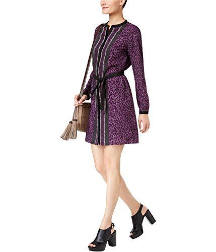 Michael Kors Mixed-Print Belted Dress Violet Glaze XL