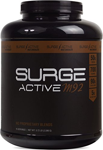 Lean Mass Complex Meal - Surge Supplements - Surge Active M92 - Mass Gainer Protein with 50g Protein and 90g Carbohydrates per Serving, Supports Lean Muscle Building - Milk Chocolate - 5.72 lbs Tub