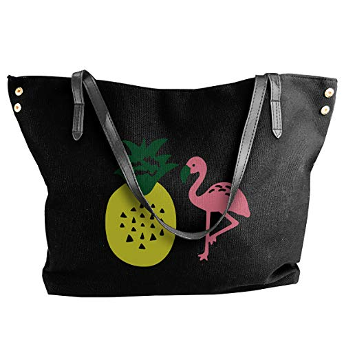 SW98Q98 Flamingo and Pineapple Women's Leisure Canvas Shoulder Bag for Shopping Big Shopping -