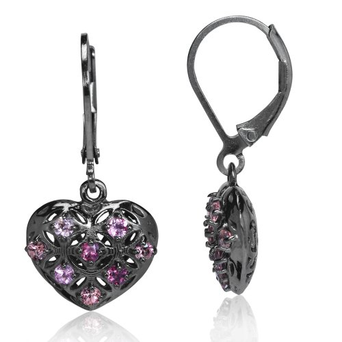 Natural Pink Tourmaline Sterling Silver Heart Filigree Leverback Earring