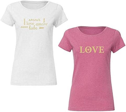 Amour DIN A4 Toppa metallica per tessuti scritta senza sfondo colore: oro Amore Love Liebe
