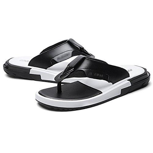 Sandals HUO Fashion Splice Outdoor Men Summer Non-slip EVA Sole Slippers Beach Shoes Simple Black And White (Color : White-2, Size : EU40/UK7/CN41) Black-1