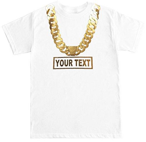FTD Apparel Men's Gold Chain Customize Name Metallic Print T Shirt - XL - White T-shirt Chain