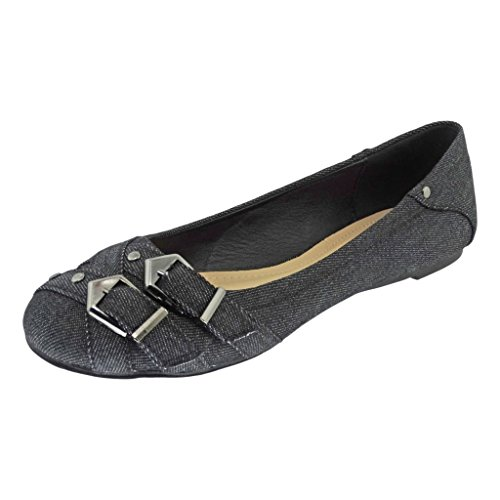 Pierre Dumas Donna Brita-5 Denim Slip-on Accenti Ballerine Ballerine Denim Nero