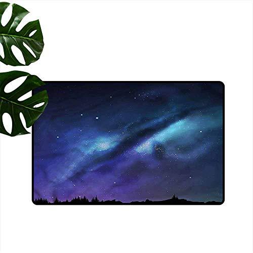 (Waterproof Door mat Night Milky Way Cosmos Inspired Hard and wear Resistant W35 xL47)