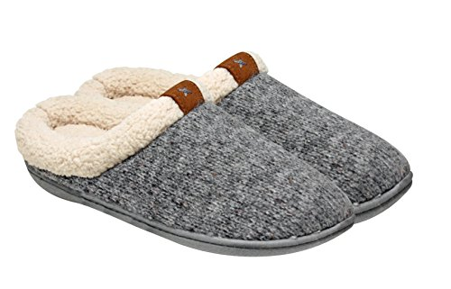 Adrienne Vittadini Women's Comfort Padded Memory Foam Sherpa Clog Cable Knit Slipper with Slip-Resistant Rubber Bottom Sole | Indoor/Outdoor