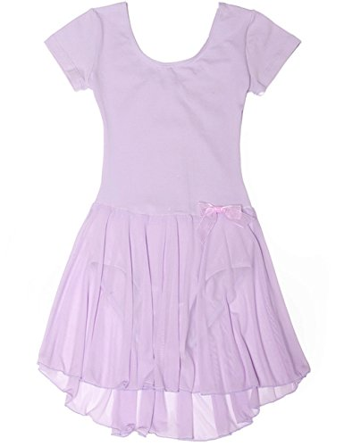 Dance Leotard with Skirt for Girls by Mdnmd [150,Purple] (Dance Costumes/ Wear)