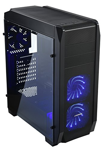 Enermax ECA3520 ATX Gaming Mid Tower Computer Case with Tempered Glass Side Panel and 2 LED Fans Pre-installed, ECA3520B-03-BL