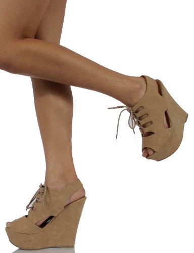 Delizioso Womens Skyla In Pelle Nubuck Open Toe Lace-up Piattaforma Slingback Zeppa, Taupe, 65 M Us