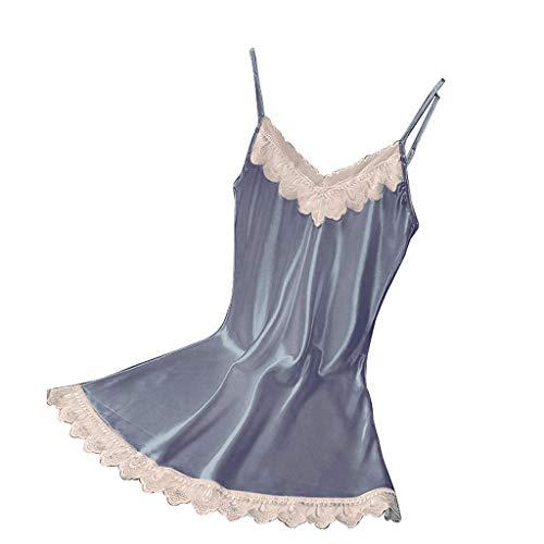 Haluoo Women Satin Lingerie Deep V Neck Lace Chemises Mini Full Slip Mini Teddy Chemise Babydoll Sexy Sleepwear Nightgown Nightwear Loungewear (Medium, Gray)