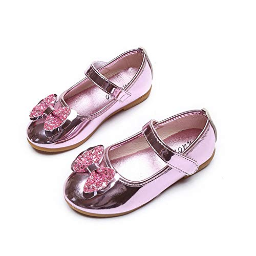 Girls Toddler Kids Bowknot Shiny Mary Janes Ballet Flats Wedding Princess Dress Shoes(Pink1-EU 21/5 M US Toddler)
