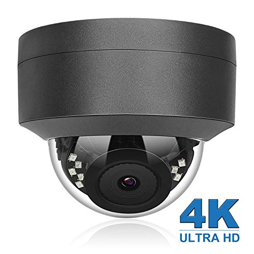 (Hikvision Compatible) Anpviz 4K 8MP POE IP Security Dome Camera Indoor Outdoor, Wide Angle 3.6mm, 98ft, IP66 Weatherproof Onvif Compliant, Grey